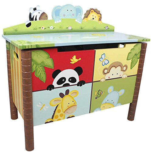 (Fantasy Fields - Sunny Safari Animals Thematic Kids Wooden Toy Chest with Safety Hinges | Imagination Inspiring Hand Crafted & Hand Painted Details   Non-Toxic, Lead Free Water-based Paint)