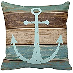 "Throw Pillow Cases Cotton Polyester Cushion Cover Nautical Anchor Weathered Wood, 16"" x 16"""