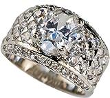 Brilliant Designer White Gold Overlay Men's Ring simulated White Sapphire Size 9 10 11 12 13 14