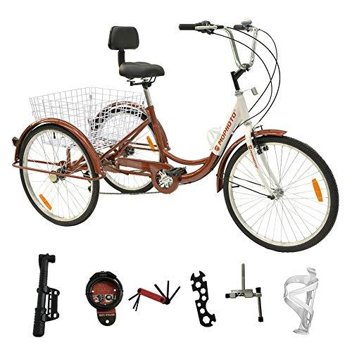 MOPHOTO Adult Tricycle Trike Cruiser Bike Three-Wheeled Bicycle w/Large Basket and Maintenance Tools, Men's Women's Cruiser Bicycles, 24 Inch Wheel Size Bike Trike (24 Inch Brown)