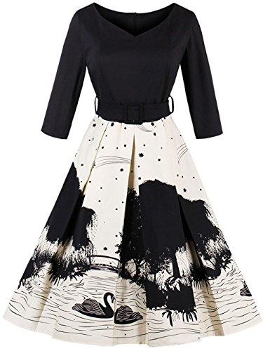 Joansam Women's 50s Vintage Floral V-Neck Midi Dress 3/4 Sleeve Cocktail Party A Line Swing Dresses with Belt (Medium, (Black Swan Halloween 2017)