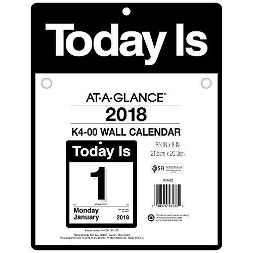 AT-A-GLANCE Daily Wall Calendar, January 2018 - December 2018, 8-1/2