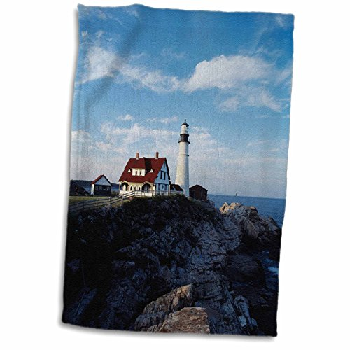 3dRose Danita Delimont - Walter Bibikow - Lighthouses - USA, Maine, Cape Elizabeth, Portland Head Lighthouse. - 12x18 Towel - Elizabeth Lighthouse Cape