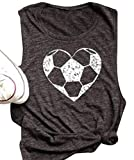 FAYALEQ Heart Football Funny Racerback Tank Tops Women's Casual Vest T-Shirt Blouse Tee Size M (Gray)