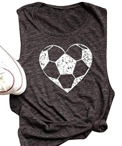 FAYALEQ Heart Soccer Funny Graphic Tank Tops Women's Casual Vest T-Shirt Blouse Tee Size M (Gray) for $<!--$17.99-->