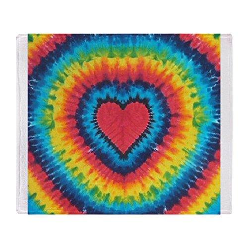 CafePress Colorful Tie Dye Heart Soft Fleece Throw Blanket,