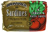 BRUNSWICK Sardines In Tomato and Basil Sauce, 3.75 Ounce Can (Pack of 18), High Protein Food, Keto Food and Snacks, Gluten Free Food, High Protein Snacks, Canned Food For Sale