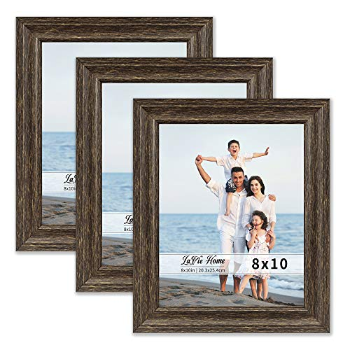 LaVie Home 8x10 Picture Frames (3 Pack, Brown Wood Grain) Rustic Photo Frame Set with High Definition Glass for Wall Mount & Table Top - Walnut Rustic Frame