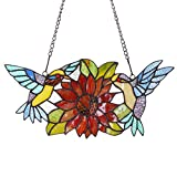 Bieye W10006 15 inch Hummingbirds and Sunflower Tiffany Style Stained Glass Window Hangings