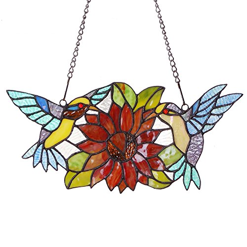 Bieye W10006 15 Inch Hummingbirds Eat Sunflower Nectar and Pollen Tiffany Style Stained Glass Window Hangings with Chain, 15