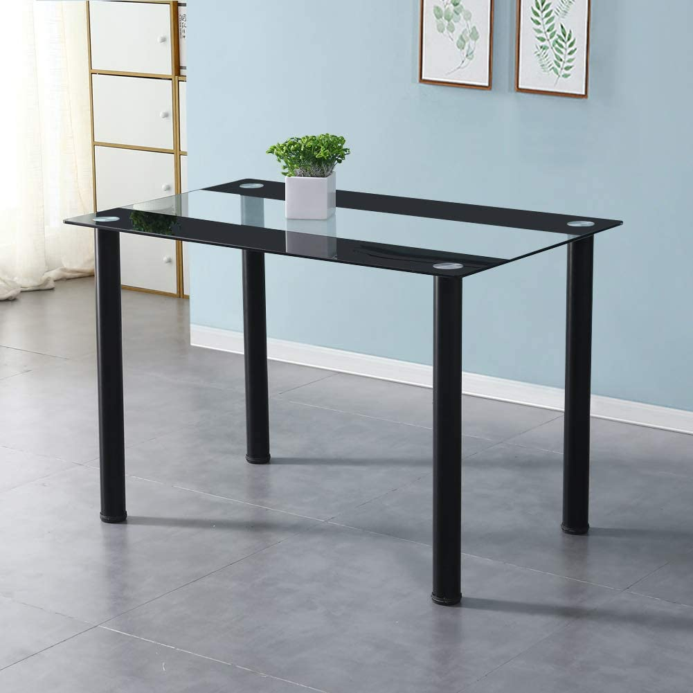 Ofcasa Glass Dining Table Rectangle Black Dining Table With Metal