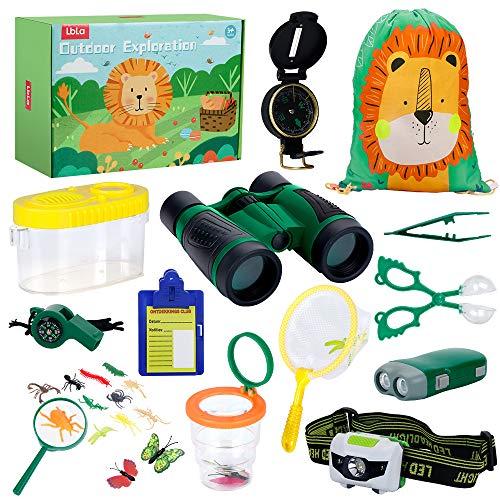 LBLA Outdoor Explorer Set 27 pc - Nature Exploration Kit Children Outdoor Games Mini Binoculars, Compass, Whistle, Magnifying Glass, Bug Catcher, Headlamp,Adventure, Hiking Educational Toy (Best Pc Fishing Game 2019)