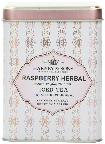 Harney & Sons Herbal Iced Tea, Raspberry, 6 Tea Bags