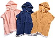 KMBANGI Toddler Kids Baby Girls Boys Summer Clothes Hooded Swim Suit Cover Ups with Pom Poms Cotton Cloak