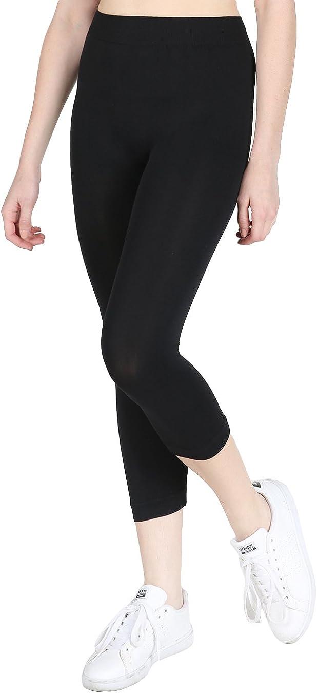 Women/'s Solid Color Capri Jeggings Leggings Stretch Pants Black Sz.LARGE