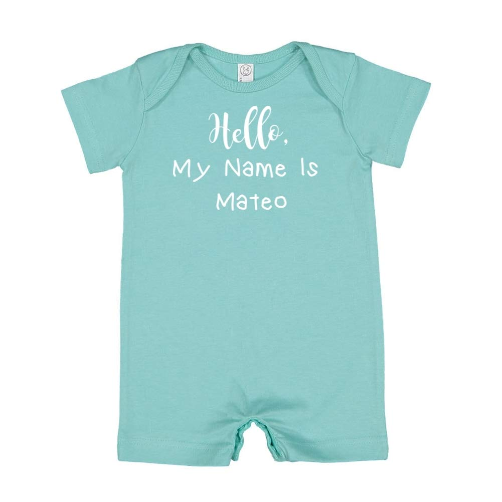 Mashed Clothing Hello My Name is Mateo Personalized Name Baby Romper