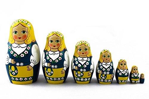 Russian National Costumes (Matryoshka Swedish Folk People National Costume Dress Babushka Russian Nesting Wooden Stacking Doll 7 Pcs)