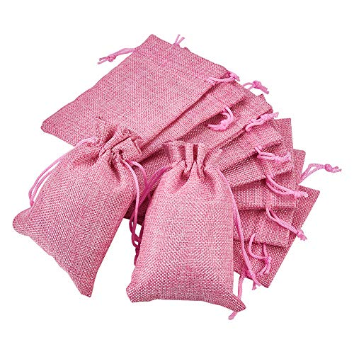 BENECREAT 30PCS Burlap Bags with Drawstring Gift Bags Jewelry Pouch for Wedding Party Treat and DIY Craft - 5.5 x 3.9 Inch, Pink