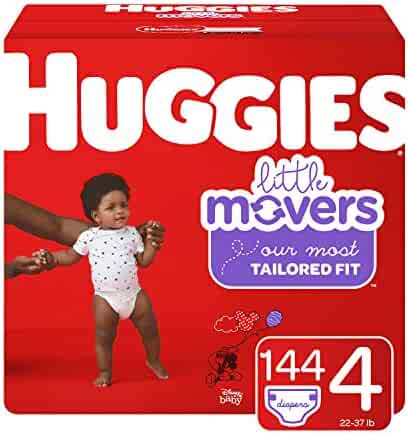 Huggies Little Movers Diapers, Size 4 (22-37 lb.), 144 Count, One Month Supply (Packaging May Vary)
