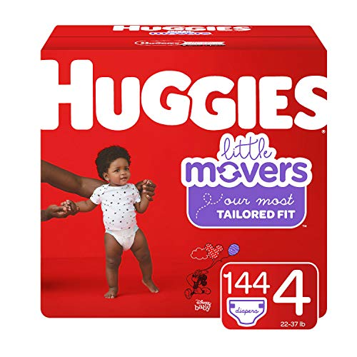 (Huggies Little Movers Diapers, Size 4 (22-37 lb.), 144 Ct, Economy Plus Pack (Packaging May Vary))