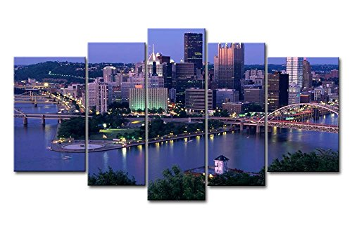 So Crazy Art Blue 5 Piece Wall Art Painting Pittsburgh With High-Rise Buliding Pictures Prints On Canvas City The Picture Decor Oil For Home Modern Decoration Print For Girls -