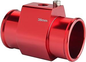 Dewhel Aluminum Red Water Temp Meter Temperature Gauge Joint Pipe Radiator Sensor Adaptor Clamps 38mm