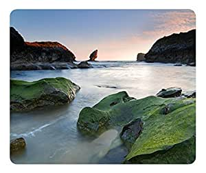 Green Rocks Beach Gaming Mouse Pad Comfortable Desktop Laptop Mouse Pads