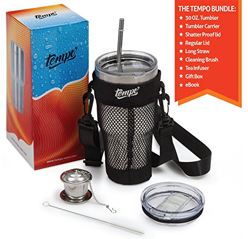 30oz-Tumbler-Carrying-Pouch-With-Stainless-Steel-Double-Wall-Vacuum-Insulated-Mug-Accessories-Include-Neoprene-Hand-Free-Black-Bag-Shatter-Proof-Lid-Regular-Lid-Tea-Infuser-Straw-Brush-eBook