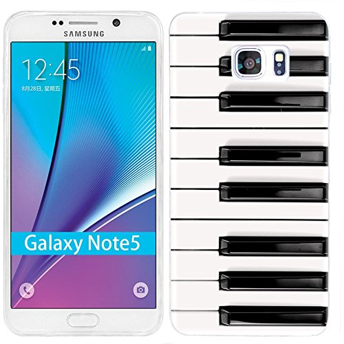 (Note 5 Case,Galaxy Note 5 Case, ChiChiC [Cute Series] Full Protective Case Slim Flexible Soft TPU Gel Rubber Cases Cover Skin for Samsung Galaxy Note 5,Music Design Funny Black White Piano Key)