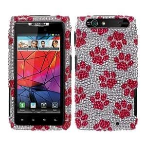 Cerhinu Fincibo (TM) Motorola Droid RAZR XT912 Bling Crystal Full Rhinestones Diamond Case Protector - Hot Pink Dog Paw...