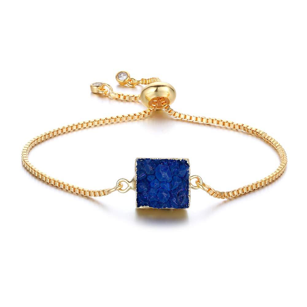 Izmist 24K Gold Plated Adjustable Natural Druzy Stone Bracelet for Women and Girls
