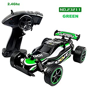 Electric RC Car, OULucicy Wireless Remote Control Off Road RC Toy Car, 1/20 Scale 2WD 2.4Ghz High Speed RC Monster Truck, Best Birthday Gift for Children Kids (Rechargeable Batteries Included) (Green)