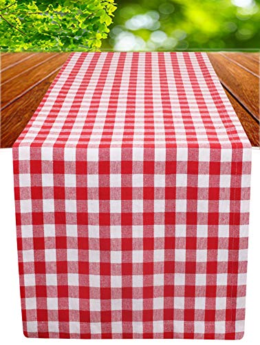 Ramanta Home Cotton Gingham Check Plaid Table Runner for Family Dinners or Gatherings, Indoor or Outdoor Parties, Everyday Use, Wedding Table Runner-(16x90, Seats 8-10 People), Red White, 2Pack]()