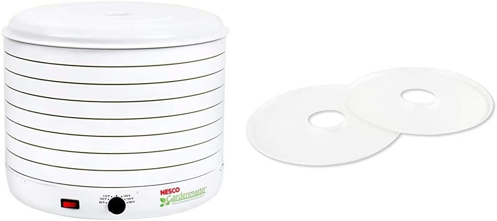 Nesco Gardenmaster 075 Food Dehydrator, 1-(Pack), White & SLD-2-6, Fruit Roll-Up Sheet for Dehydrators FD-1010, FD-1018A, FD-1040, FD-80, FD-80CN, Set of 2, White