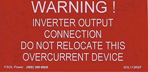 WARNING: INVERTER OUTPUT CONNECTION LABEL - RED REFLECTIVE VINYL WITH WHITE LETTERS, 2'' X 4'', 10-PACK, KSOL POWER by KSOL Power