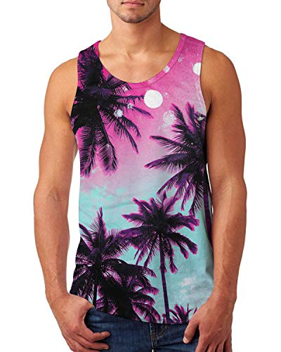 Uideazone Palm Candy Tank Top for Men Sleeveless Graphic Tees Summer Crew Neck Gym Workout Shirt Casual Wear Fitness Vest