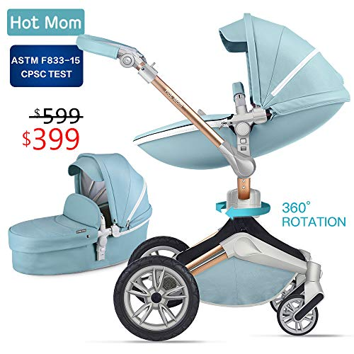 Baby Stroller 360 Rotation Function,Hot Mom Baby Carriage Pushchair Pram 2019(Blue)