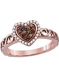 10k Rose Gold Round Chocolate Brown Diamond Heart Love Ring (1/4 Cttw)
