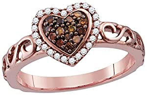 Size 6.5 - 10k Rose Gold Round Chocolate Brown Diamond Heart Love Ring (1/4 Cttw)