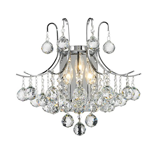Worldwide Lighting Empire Collection 3 Light Chrome Finish and Clear Crystal Wall Sconce 16