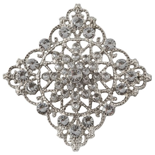 Diamond Shaped Brooch with Silver Nickel Finish and Clear Stones (2.25