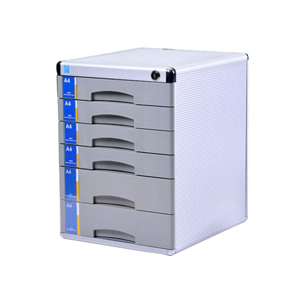 Flat File Cabinet, Drawer Organizer Lockable with Blank Label Aluminum Alloy - Silver (Size: L30W36H40.5cm)