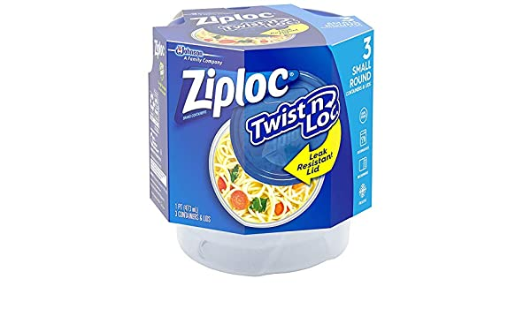 Ziploc Twist N Loc Containers, Small 3 Containers and 3 Lids (Pack - 6)