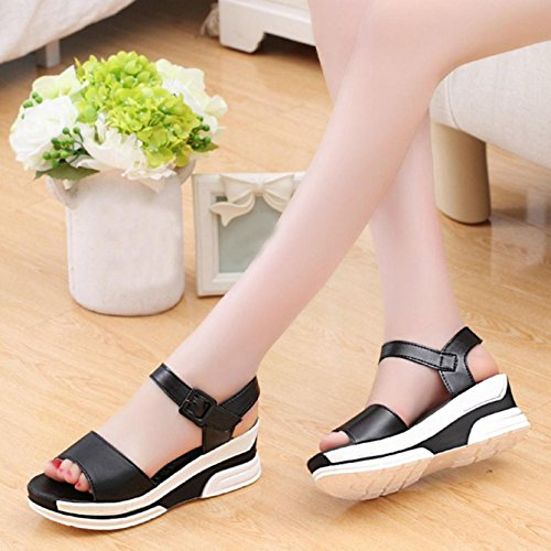Sandalias de mujer, Internet Sandalias de verano de las mujeres zapatos sandalias de zapatos bajos Negro