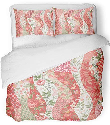 Emvency 3 Piece Duvet Cover Set Breathable Brushed Microfiber Fabric Red Flower Patchwork Pattern with Roses Pink Floral Quilt Abstract Blossom Bedding Set with 2 Pillow Covers Twin Size