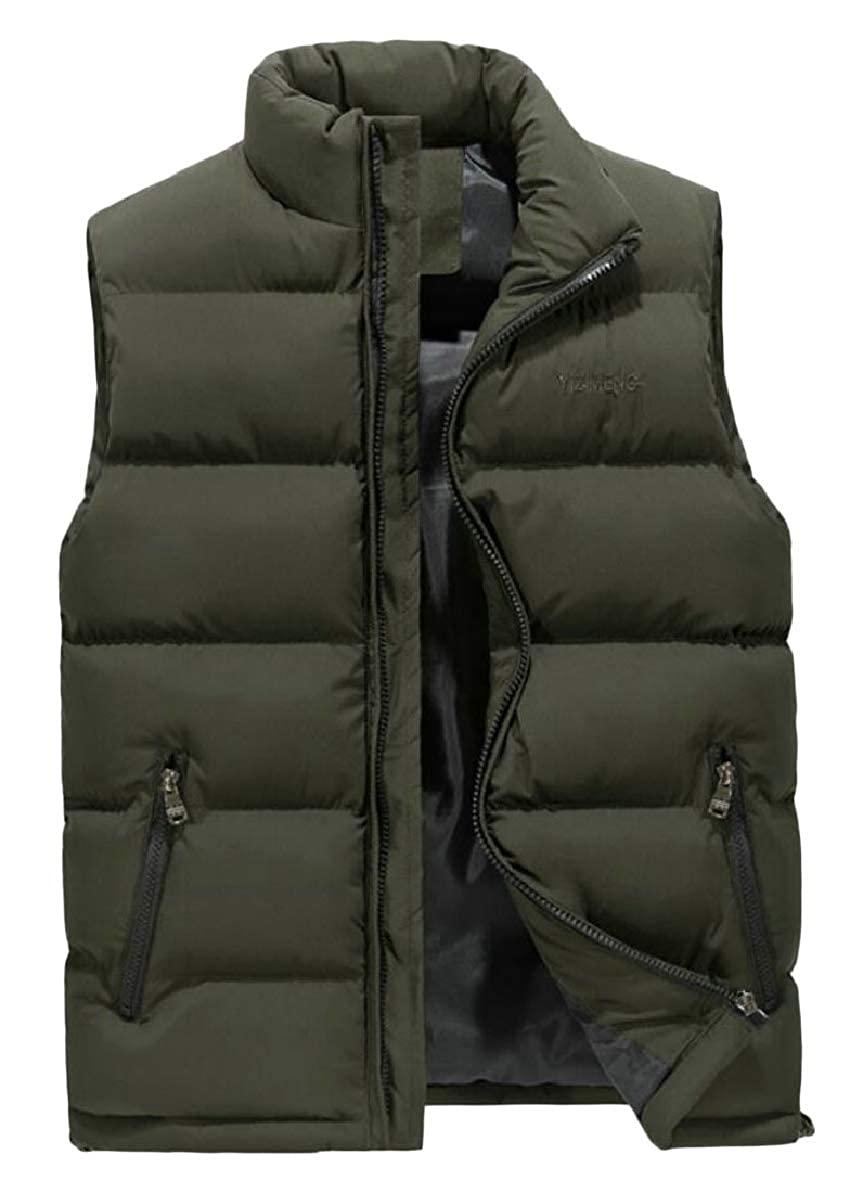 FLCH+YIGE Mens Front-Zip Padded Winter Thick Sleeveless Waistcoat Down Vest Jackets