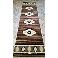 Southwest Native American Long Runner Rug Brown Design #NS1 (31 Inch X 14 Feet 5 Inch )