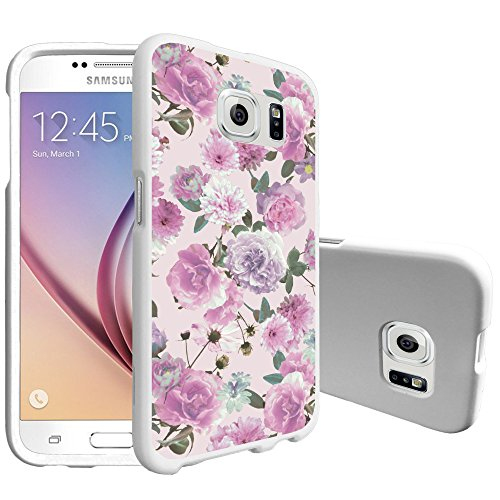 - MINITURTLE Case Compatible w/ MINITURTLE Ultra Thin Phone Case Compatible for Samsung Galaxy S6 [SMG920][Snap Shell ] Hard Case w/ White Non Slip Coating Pink Purple Flower
