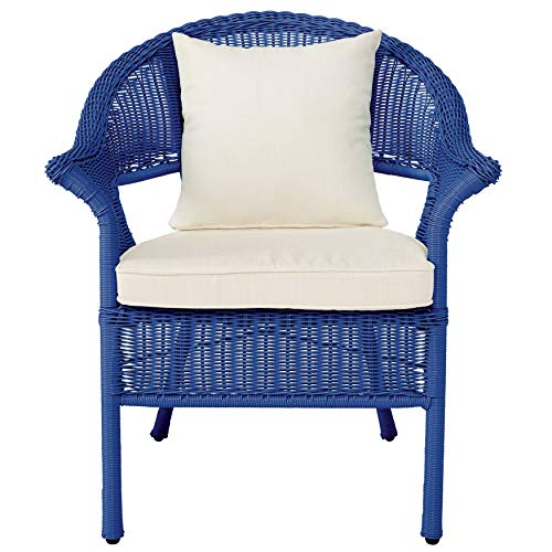 BrylaneHome Roma All-Weather Wicker Stacking Chair - Cornflower Blue