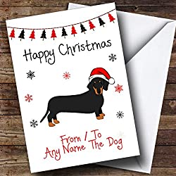 Daschund From Or To The Dog Pet Personalized Christmas Holiday Greetings Card